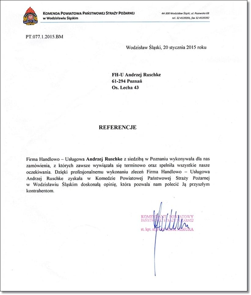 Referencje Ruschke PSP straż