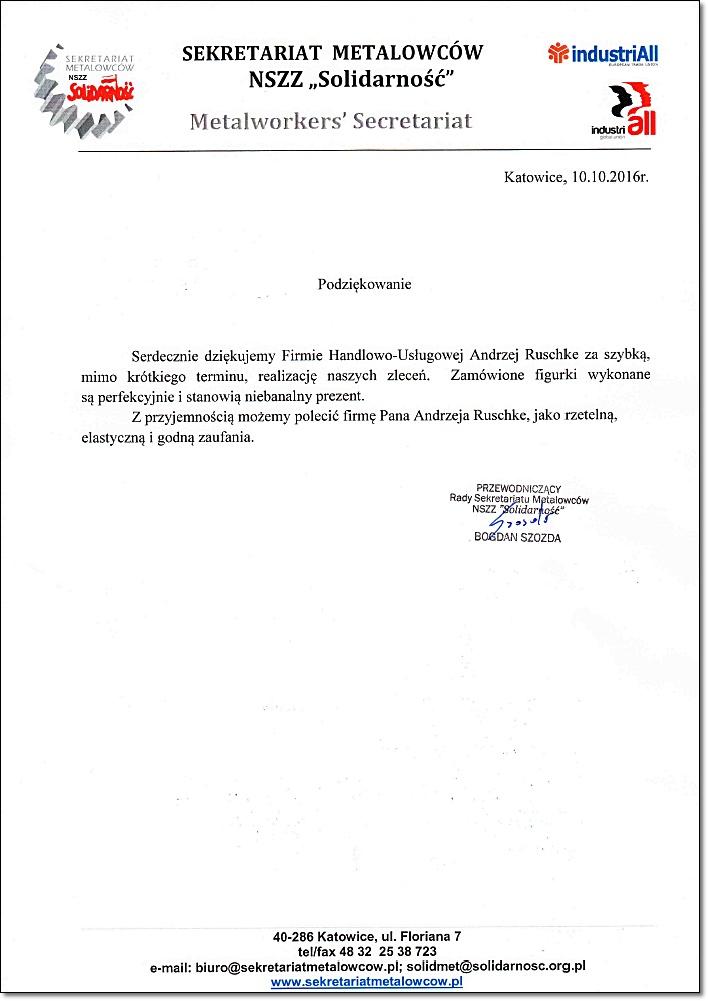 Referencje NSZZ Solidarność Metalowców Ruschke